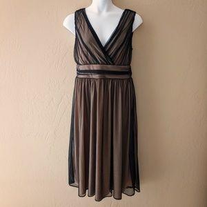 Newport News Black/Tan Net Overlay Cocktail Dress